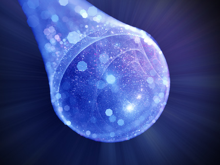 warp: Blue glowing bubble universe in space with particles, computer generated abstract background