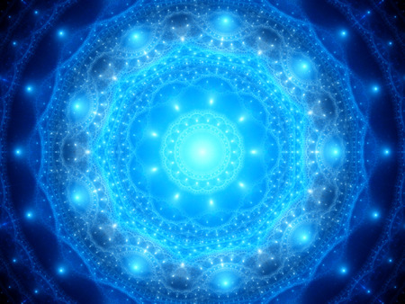 mantra: Blue glowing mandala in space, computer generated abstract background
