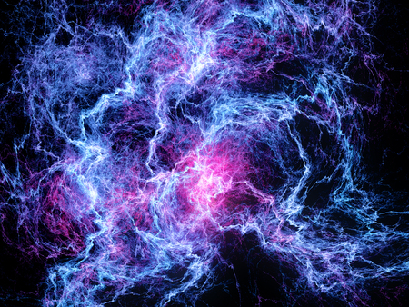 Multicolored glowing high energy lightning, computer generated abstract background