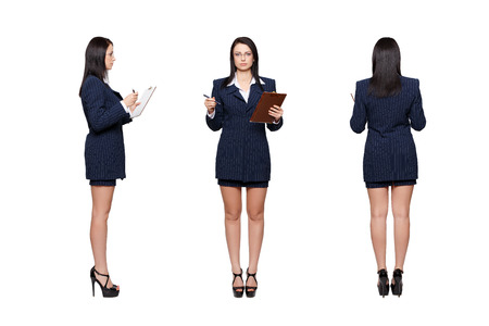 Businesswoman front, back, side view, isolated on white