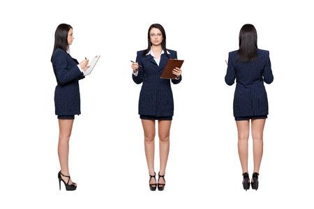gefesselt: Geschäfts vorne, hinten, Seitenansicht, isoliert auf weißem Lizenzfreie Bilder