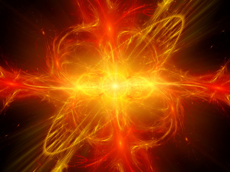 fractal background: Fiery glowing plasma explosion in space, computer generated abstract background