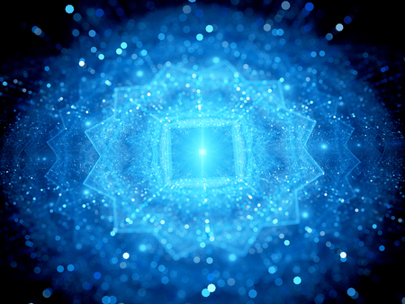 inteligencia: Azul brillante grandes volúmenes de datos en el espacio con partículas con partículas, profundidad de campo, bokeh, generado por ordenador resumen de antecedentes