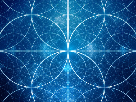 trigonometry: Blue glowing symmetrical fractal circles, computer generated abstract background Stock Photo