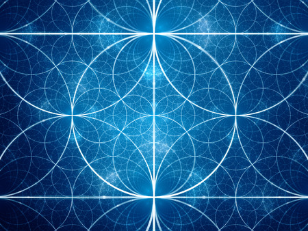 Blue symmetrical fractal circles, computer generated abstract background Imagens