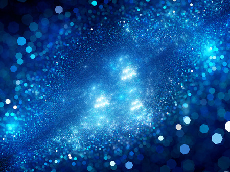 nebulous: Deep interstellar space with glowing particles and bokeh, computer generated abstract background Stock Photo