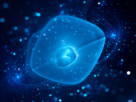 gaseous: Blue glowing bubble shaped force field in space, computer generated abstract background Stock Photo