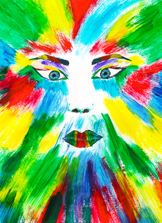 artwork painting: Colorful face painting, multicolored watercolor artwork Stock Photo