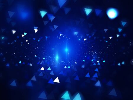 diamond background: Blue glowing triangles in space, computer generated abstract background