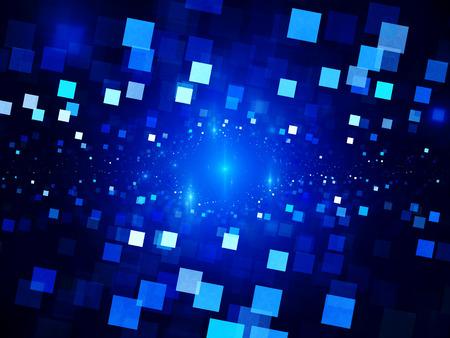 tiefe: Blau leuchtende Quadrate im Raum, große Daten, Computer generierte abstrakte Hintergrund