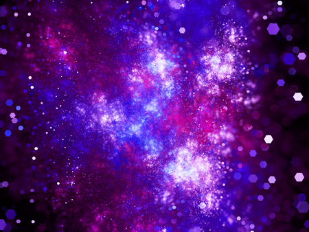 gaseous: Purple glowing deep interstellar space with particles, computer generated abstract background