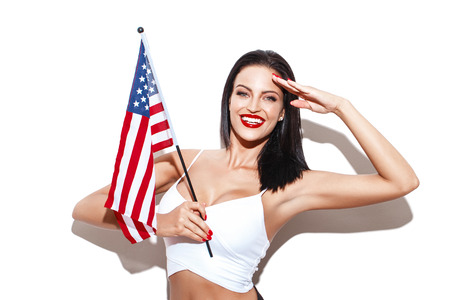 Salute: Sexy woman salute with usa flag, independence day