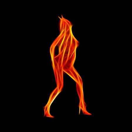 topless women: Fiery dancer silhouette fractal, computer generated abstract background Stock Photo