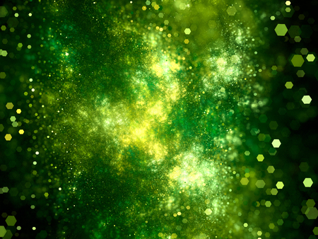 gaseous: Green glowing deep interstellar space with particles, computer generated abstract background