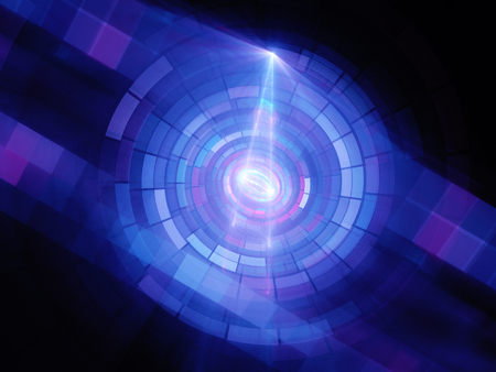 Blue glowing quantum computing, computer generated abstract background