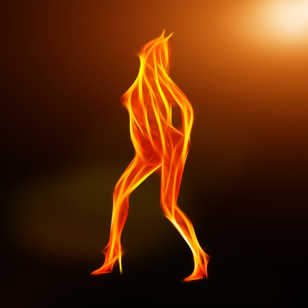 topless women: Fiery dancer silhouette in the lighs fractal, computer generated abstract background