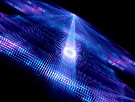 量子計算、コンピューターで生成された抽象的な背景でデータ トンネル
