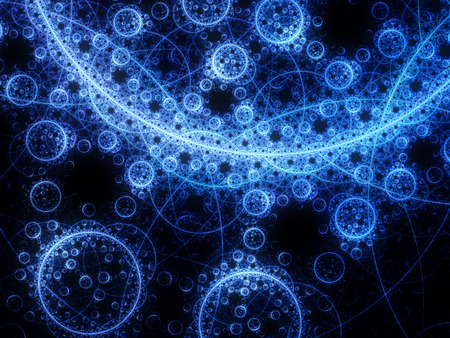 blue abstract: Magical glowing fractal circles, computer generated abstract background Stock Photo
