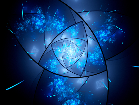 fractal background: Glowing blue magical stained glass fractal in space, computer generated abstract background