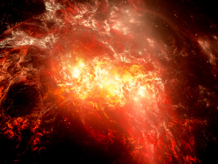 orange inferno: Fiery explosion in deep space, glowing nebula, computer generated abstract background