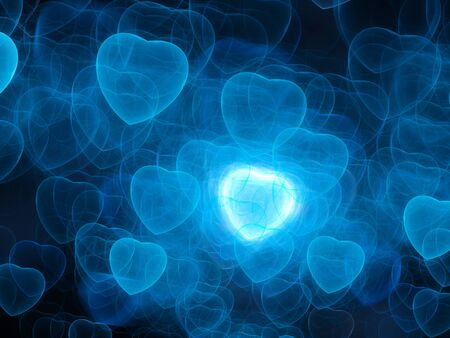 relationships human: Blue hearts bokeh, valentines day, computer generated abstract background