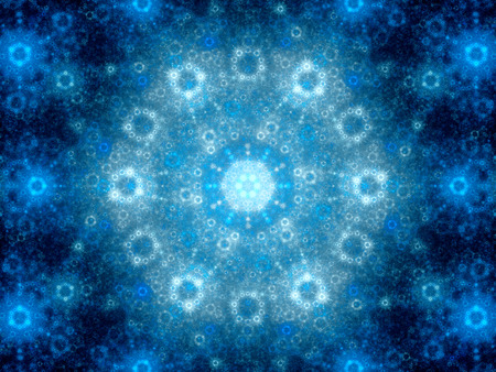spiritual energy: Blue glowing julian shape fractal, computer generated abstract background