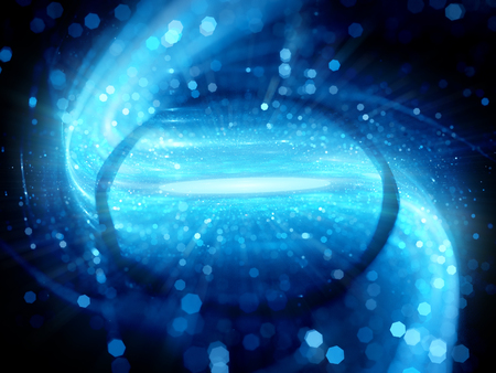 wormhole: Gravitational lens effect in space with particles, black hole with event horizon, computer generated abstract background