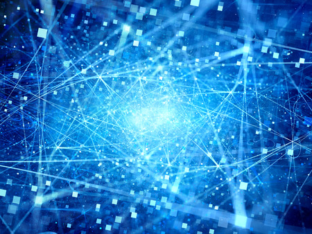 big: Conexiones brillantes azules en el espacio con las partículas, los grandes datos, generados por computadora resumen de antecedentes