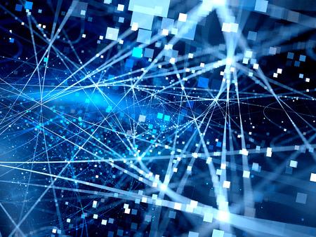 Blau leuchtende Verbindungsleitungen mit Partikeln, neue Technologien, große Daten, Computer generierte abstrakte Hintergrund Standard-Bild