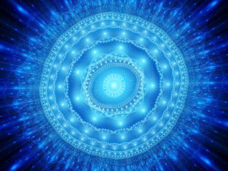 Blu incandescente spazio magico mandala, generato dal computer sfondo astratto
