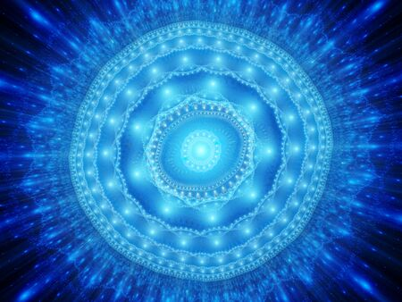 Blue glowing magical space mandala, computer generated abstract background