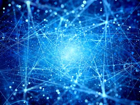 Wiele świecące połączenia w przestrzeni, wygenerowane komputerowo abstrakcyjne tło Zdjęcie Seryjne