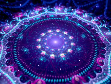 Kleurrijke gloeiende mandala in de ruimte, computer gegenereerde abstracte achtergrond
