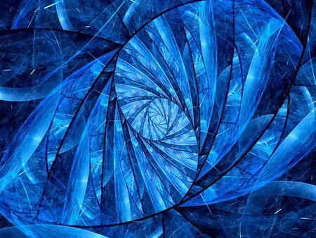 golden ratio: Lumineux bleu fractale vitrail, généré par ordinateur abstrait