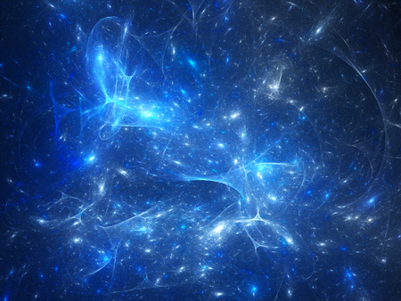 Blue glowing synapses in space, computer generated abstract background