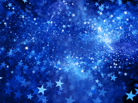 Blue glowing star shape fractal, computer generated abstract background Standard-Bild