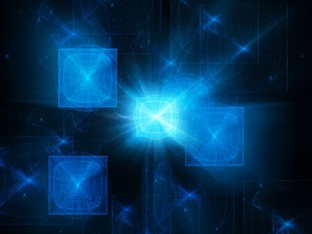 processors: Blue glowing quantum processors, computer generated abstract background Stock Photo