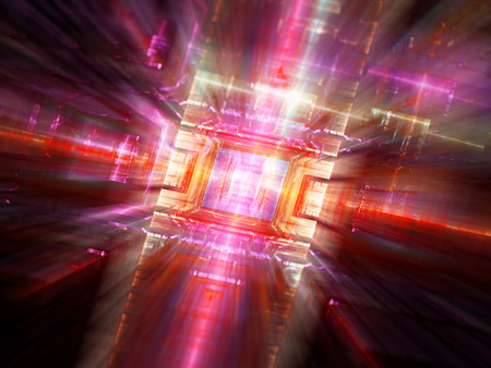 computer technology background: Colorful new technology fractal, integrated gpu in cpu, computer generated abstract background