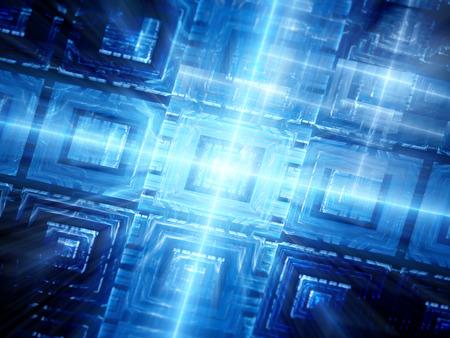 Blauwe gloeiende hardware fractal, computer gegenereerde abstracte achtergrond