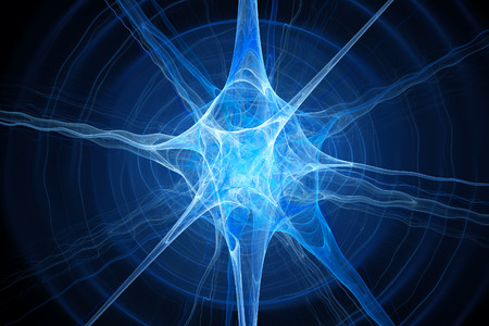 bio medicine: Blue glowing neuron fractal, computer generated abstract background