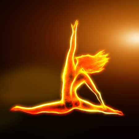 donna che balla: ballerina di fuoco saltando frattale con la luce, generato dal computer sfondo astratto Archivio Fotografico