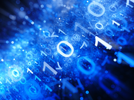 Glowing blue big data in space with particles, depth of field, binary code, computer generated abstract background Stock Photo