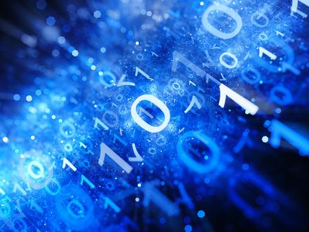 Resplandeciente grandes volúmenes de datos en el espacio de color azul con las partículas, profundidad de campo, el código binario, generado por ordenador resumen de antecedentes