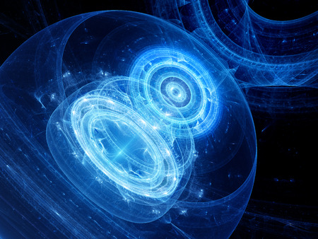 chaos theory: Blue glowing dimensional gate in space, computer generated abstract background