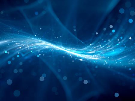 Azul brillante nueva tecnología de flujo en el espacio, generado por ordenador resumen de antecedentes Foto de archivo