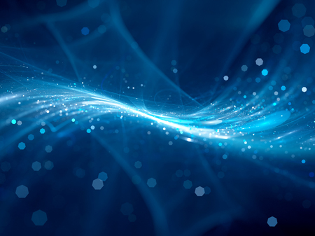 Blue glowing new technology flow in space, computer generated abstract background