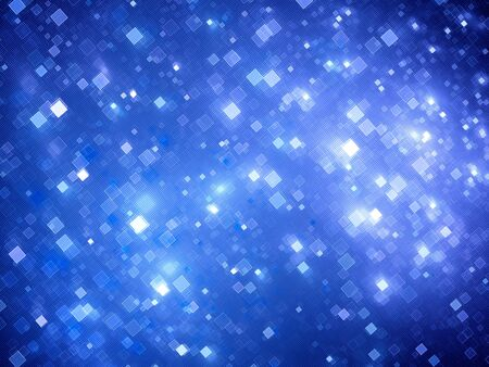 information science: Blue glowing big data squares fractal, computer generated abstract background