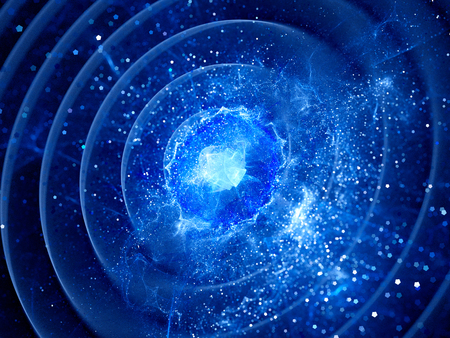 cosmos: Gravitaional wave burst in pulsar, computer generated abstract background