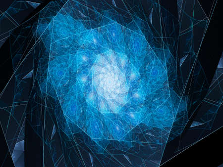 golden ratio: Blue glowing connection lines in spiral, computer generated abstract background
