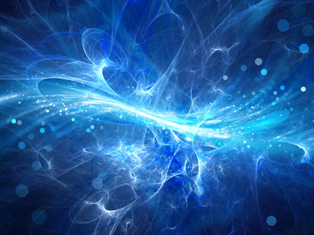 공간에 블루 빛나는 고 에너지 플라즈마 필드, 컴퓨터 추상적 인 배경